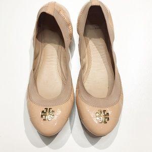 Tory Burch Jolie Nude Flats Leather 8.5
